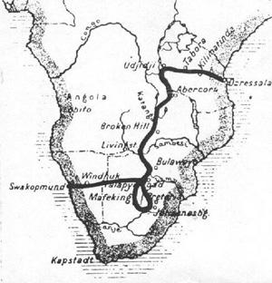 Map of the first crossing of Africa by car